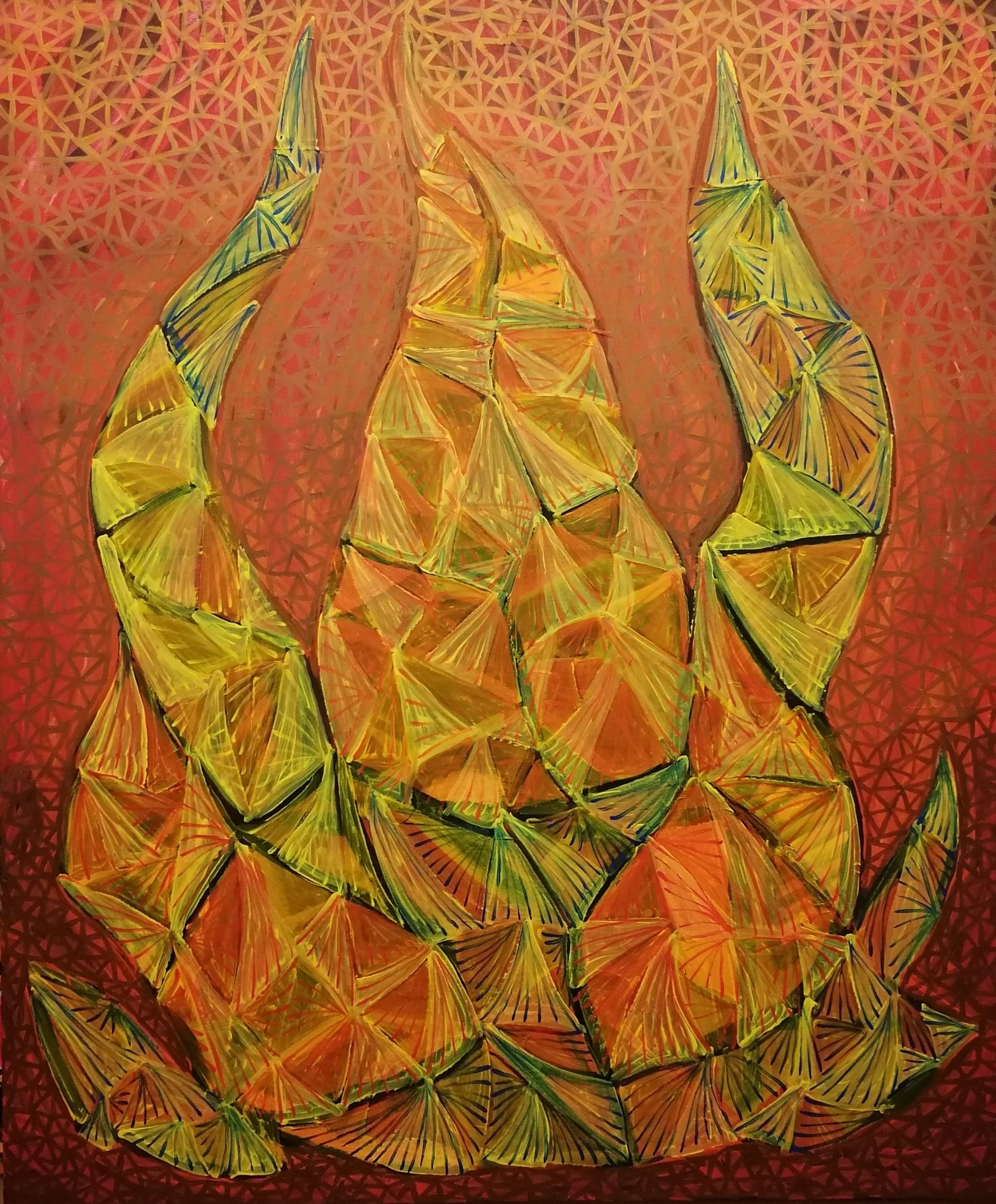 SOULFIRE'S FLAMES (M. Sager, 2021. Acrylic on canvas, 100 x 120 cm)