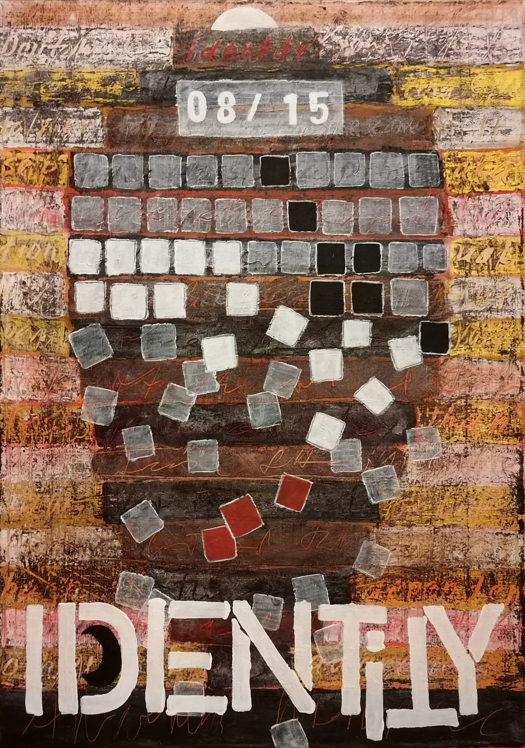 IDENTITY (M. Sager, 2021. Mixed media on canvas, 50 x 70 cm)
